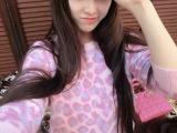 2014韩国东大门秋冬女装新款豹纹兔毛针织衫宽松圆领冰淇淋色毛衣