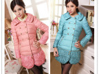 2013新款潮韩版蕾丝下摆可脱卸双排扣修身女中长款羽绒服厂家批发
