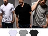 短袖T恤 T-shirt 纯色V领短袖 V领男T恤 莫代尔t恤