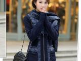 2013秋冬韩版羊绒围巾羽绒服女中长款修身加厚羽绒衣新款潮