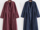 专柜品质2015原创文艺范纯色棉麻开衫刺绣风衣外套女式大衣600