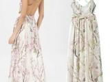 欧洲站夏季欧美女吊带印花连衣裙修身性感露背大摆长裙 沙滩裙