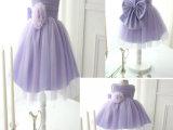 儿童礼服 女童紫色公主婚纱 礼服裙 六一表演服蓬蓬裙一件代发
