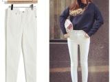 韩版高腰弹力牛仔裤女式小脚铅笔裤长裤紧身型 两粒扣黑白色