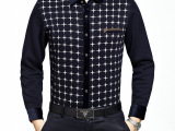 2014年冬季男士新款加绒加厚纯色印花扣领时尚休闲衬衫