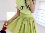 2014苹果绿色钉珠字母无袖T恤+百褶蓬蓬半身裙套装