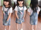 女童2015春装夏装新款韩版儿童宝宝牛仔背带裙裙子连衣裙卡通童装