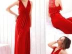 欧美风2013新款女装后背镂空深V领连衣裙 气质派对礼服裙