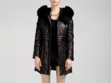 2013新款 可拆卸狐狸毛领绵羊皮衣真皮羽绒服女中长款修身带帽