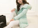 韩国代购2013冬新款加厚貉子毛中长款羽绒服韩版修身收腰羽绒服女