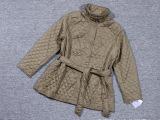 春季出口日本原单新款丝绵复古做旧宽松大码立领绑带中长女棉衣
