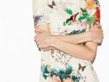 2013新款欧美风印花中国风旗袍牡丹印式款 时尚短袖连衣裙冬款