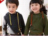 【新款时尚】韩版女童男童运动连帽加厚口袋扣子秋冬套装厂家直销