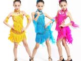 儿童拉丁舞服装女童拉丁舞裙女儿童演出服装连衣裙小孩表演服春季