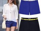 2014新款大码显瘦休闲短裤子春季色热裤蓝色短裤女夏韩版C8025