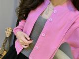 厂家批发15新款韩版纯色羊绒衫四平开衫小外套毛衣圆领针织开衫女