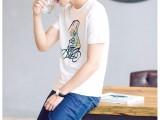 新款夏装男士T恤男短袖圆领韩版印花全棉汗衫时尚约打底衫