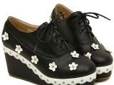 新款森女日系甜美小花朵坡跟圆头鞋系带浅口