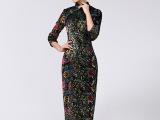 艺 批发供应2014新款修身显瘦气质宴会长款丝绒旗袍 高档旗袍