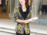 厂家直销15新款小西装大码女装针织印花小外套欧美风西装一件代发