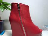欧美原单 春秋新款鱼嘴短靴 真皮舒适坡跟羊皮裸靴 厚底女鞋靴子