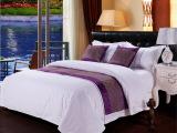 旅馆床上用品供应  布草方格网被套床单枕套 纯色三件套