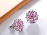 新款上市 精美花卉锆石耳环 饰品生产商 甜美饰品