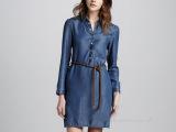 秋季新品 欧美大牌款休闲时尚款冰丝牛仔连衣裙