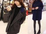 2014秋冬装新款韩版毛呢外套中长款显瘦百搭宽松大翻领毛呢大衣潮