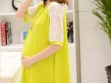 韩版时尚孕妇装夏装莫代尔棉孕妇裙蕾丝袖拼接柔软家居服孕装批发