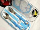 厨房用品 叮当猫盒装餐具三件套 勺子 叉子 筷子 儿童餐具