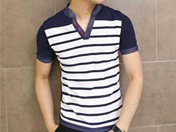 2014夏季新款男装短袖男式时尚V领T桖韩版修身条纹潮男士t恤短袖