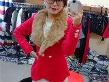 圣诞节新款 2014欧美女装  红色真兔毛大翻领双排扣毛呢短外套
