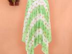2014春夏韩版新款女装绿爱心沙滩裙不规则百褶半身裙中长裙子夏女