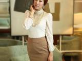2014秋装新款韩版大码女装雪纺衫服立领钉珠长袖蕾丝打底衫720