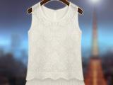 夏装新款雪纺衫 女 背心无袖衬衫白色欧根纱蓬蓬裙摆上衣