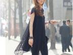 2015夏装新款韩版女装热卖圆领宽松蕾丝镂空性感大码短袖连衣裙子