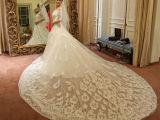 新娘白色蕾丝中袖一字肩婚纱显瘦 高贵典雅拖尾复古婚纱礼服定制