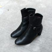小香风秋冬女款短靴2014潮马丁靴女短筒圆头超高跟靴子粗跟休闲靴