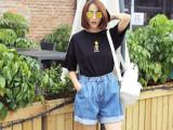 韩国牛仔裤2015夏季新款韩版宽松型高腰复古休闲牛仔阔腿裤短裤女