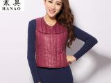 2014新款时尚圆点花型羽绒保暖背心 女装品牌同款 直供品牌商