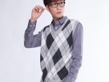 日韩男装毛衣厚款毛线背心格子拼色全棉v领无袖 男 针织衫 男批发