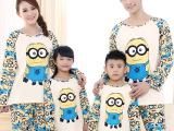 睡衣新品 纯棉长袖亲子装睡衣套装 男童女童可爱小黄人亲子装代理