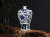 景德镇青花陶瓷花瓶 家居工艺品摆件摆设 仿古青花富贵莲陶瓷花瓶