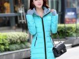 2015年秋冬季时尚韩版中长款连帽加厚羽绒外套女棉衣修身羽绒棉服