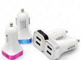 彩色铝合金双USB万能手机车载方形彩圈充电器 足3100MA厂