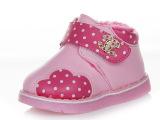 品牌直销巧乐童鞋2014冬新款棉鞋真皮保暖防滑水钻婴儿鞋一件代发