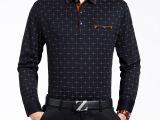 2015秋季男装薄款长袖t恤中年格子翻领羊绒衫中老年体恤一件代发