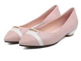 热销2015春夏新款拼色休闲尖头真皮女鞋 中跟单鞋时尚舒适工作鞋