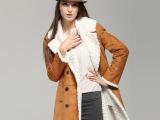 2013欧美范 大牌秋冬女装 复合绒中长款女式大衣外套